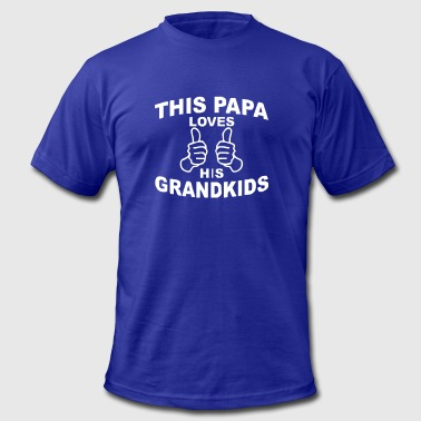 Papa And Grandkids This Papa Loves His Grandkids - Men's Fine Jersey T-Shirt