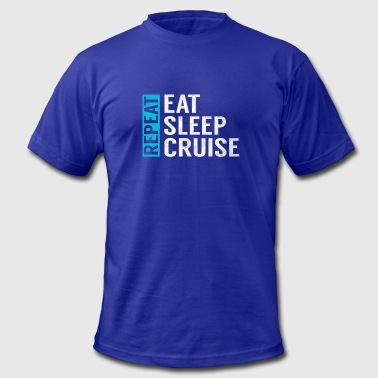 Eat Sleep Cruise Repeat Funny Vacation Crusing - Men's Fine Jersey T-Shirt
