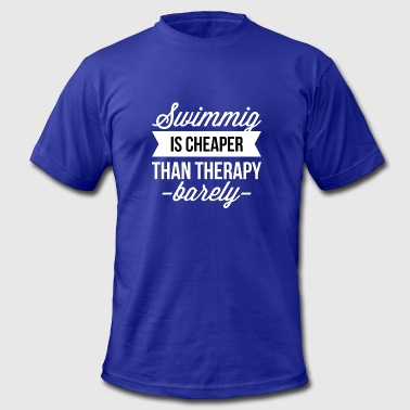 Swimming Cheaper Than Therapy Swimming is cheaper than therapy - Men's Fine Jersey T-Shirt
