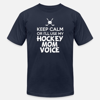 Voice Keep calm or i ll use my Hockey mom voice - Men's  Jersey T-Shirt