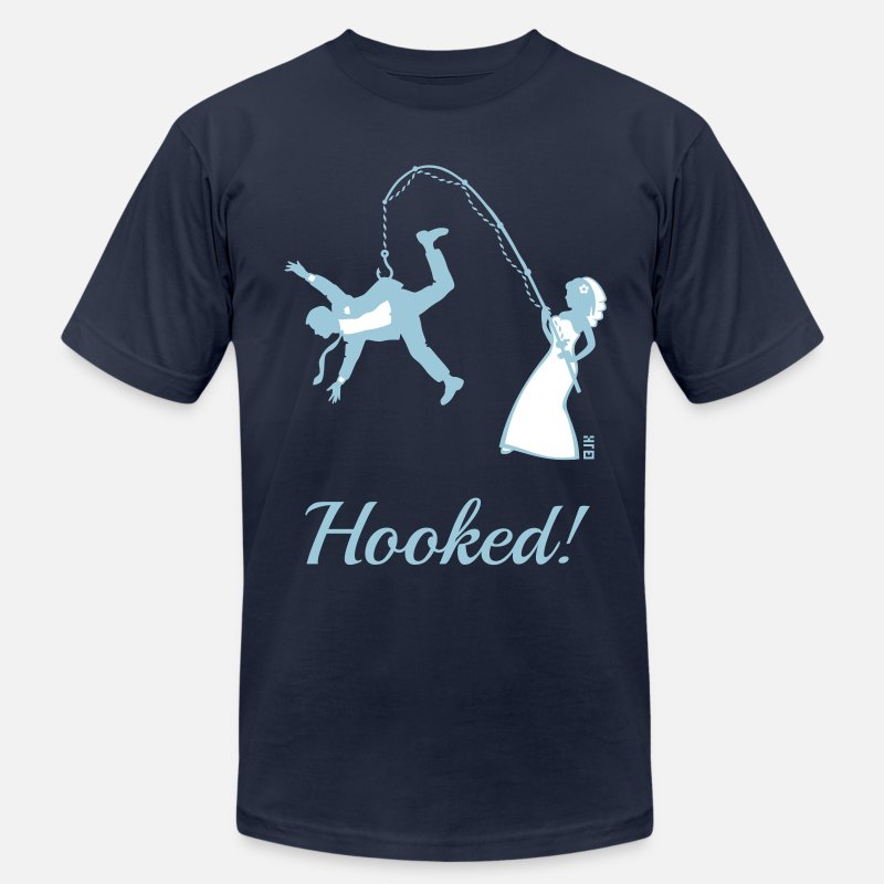 Bachelor T-Shirts - Hooked! (Bride Fishing Groom / Stag Party) - Men's Jersey T-Shirt navy