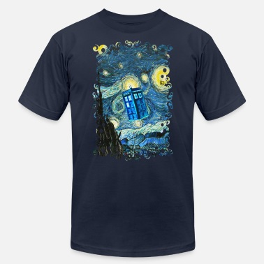 Tardis Flying Blue Phone Booth abstract paintings - Men's  Jersey T-Shirt