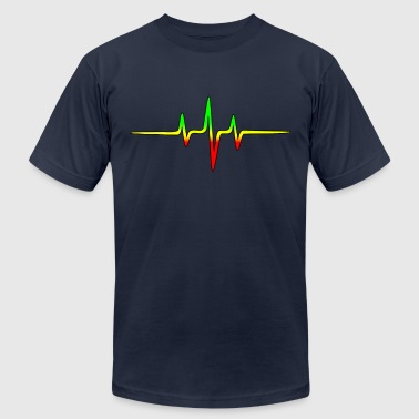 Music Pulse, Reggae, Sound Wave, Rastafari, Jah,  - Men's Fine Jersey T-Shirt