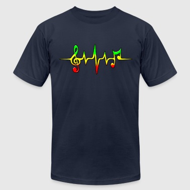 REGGAE MUSIC, NOTE, PULSE, FREQUENCY, CLEF - Men's Fine Jersey T-Shirt