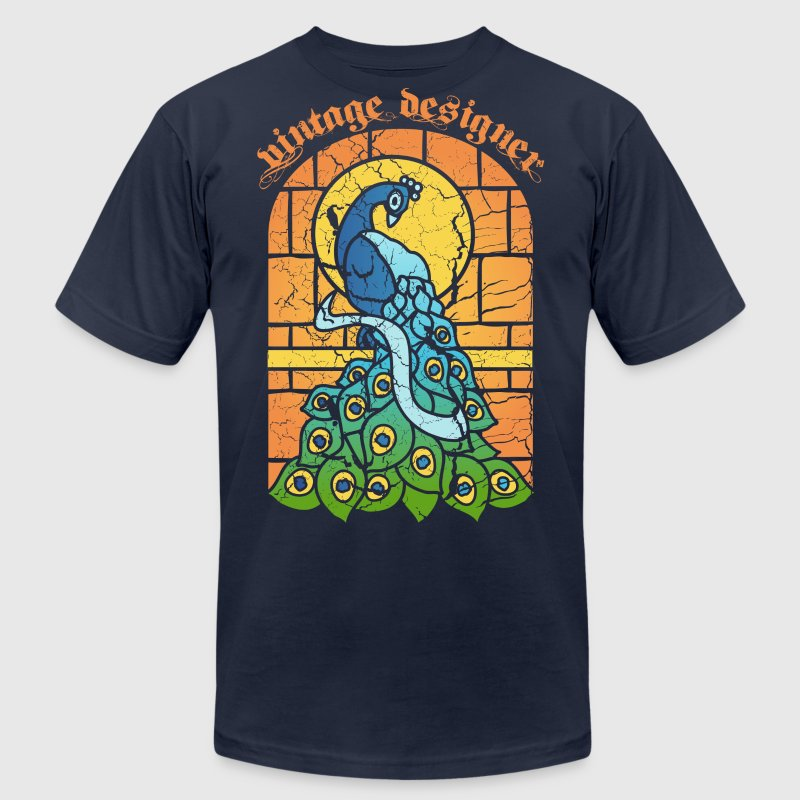 Vintage Peacock Stained Glass Window - Men's Fine Jersey T-Shirt