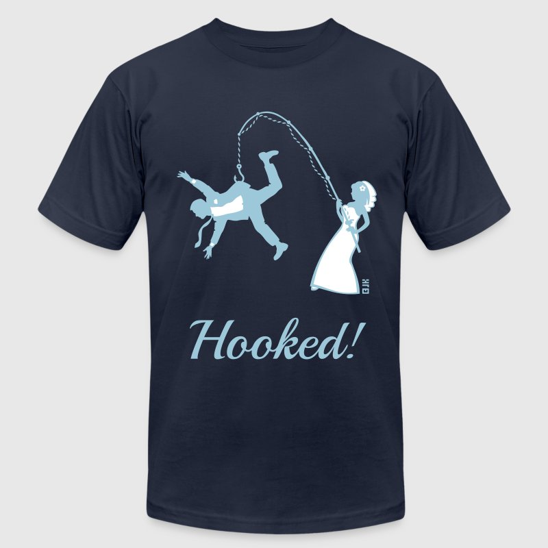 Hooked! (Bride Fishing Groom / Stag Party) - Men's Fine Jersey T-Shirt
