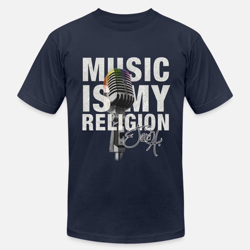 My T-Shirts - Music is my religion - Men's Jersey T-Shirt navy