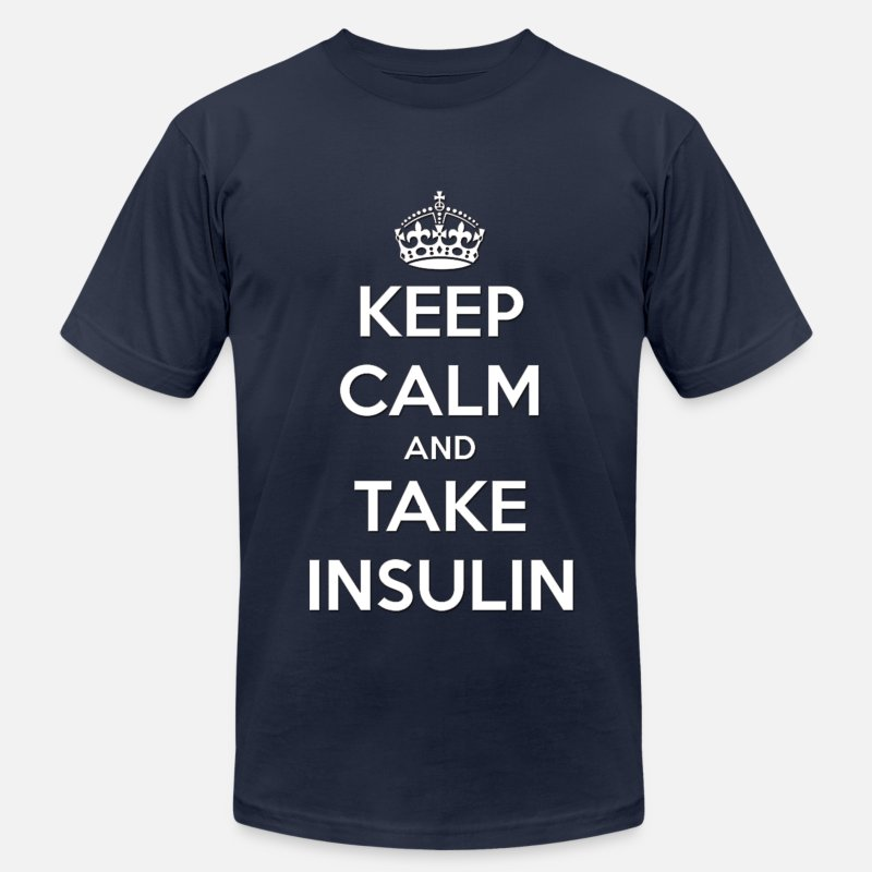 Diabetic T-Shirts - Keep Calm and Take Insulin  - Men's Jersey T-Shirt navy