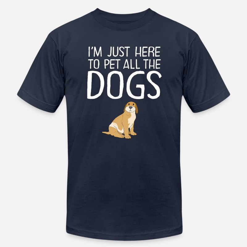 Animal T-Shirts - I'm Just Here To Pet All The Dogs - Men's Jersey T-Shirt navy