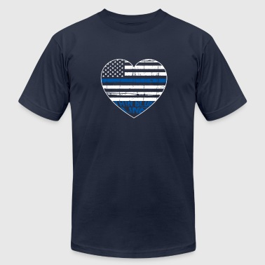 Thin Blue Line Clothing POLICE THIN BLUE LINE HEARTBEAT - Men's Fine Jersey T-Shirt