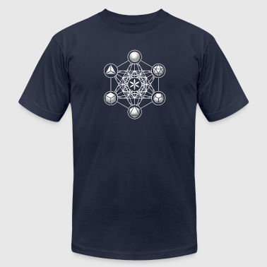 Metatrons Cube, Platonic Solids, Sacred Geometry - Men's Fine Jersey T-Shirt