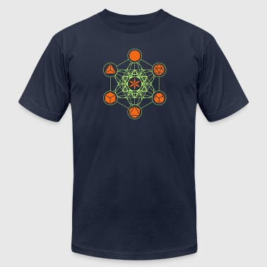 Platonic Solids, Metatrons Cube, Flower of Life - Men's Fine Jersey T-Shirt