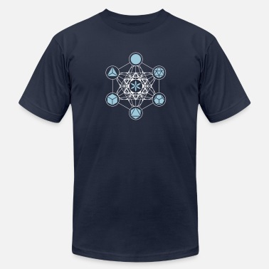 Metatrons Platonic Solids, Metatrons Cube, Flower of Life - Men's  Jersey T-Shirt