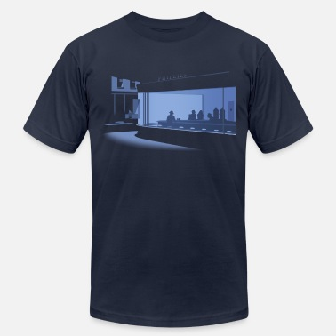 Famous Painting Nighthawks - Men's Fine Jersey T-Shirt