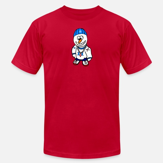 Rapper T-Shirts - Hip Hop Rapper Snowman - Men's Jersey T-Shirt red