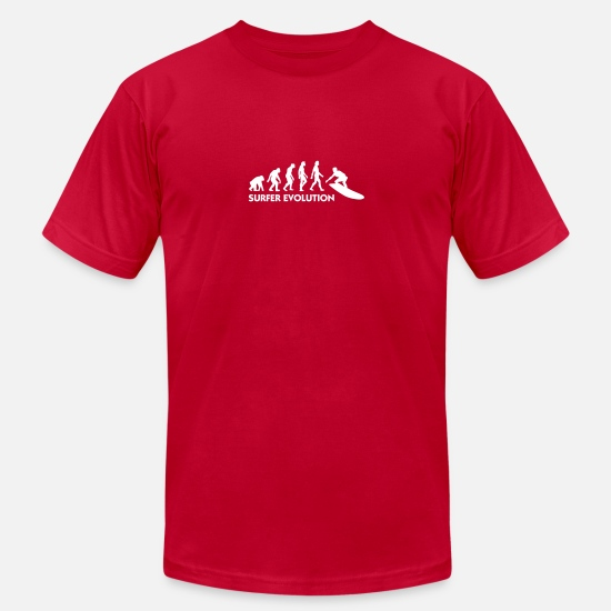 Waves T-Shirts - The Evolution Of Surfing - Men's Jersey T-Shirt red