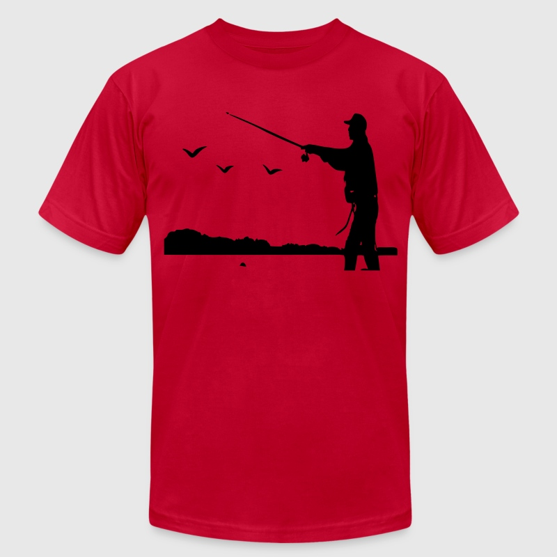 Fishing vector art  - Men's Fine Jersey T-Shirt