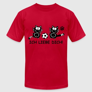 Ich liebe dich I Love you Germany soccer cupid cat - Men's Fine Jersey T-Shirt