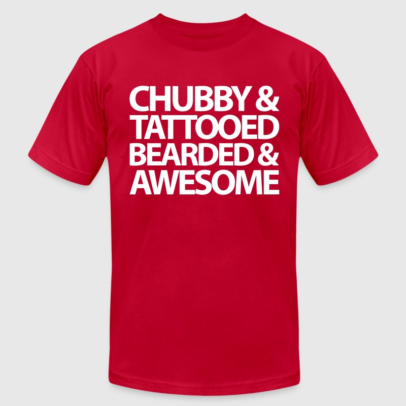 Chubby, Tattooed, Bearded  - Men's Fine Jersey T-Shirt
