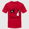 She Got Me! (Groom / Stag Party / Bachelor Party) - Men's Fine Jersey T-Shirt