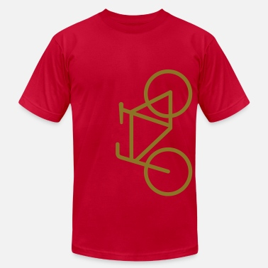Road Bike Apparel Bike Lane Metallic Gold - American Apparel AA Shirt (M) - Men's Fine Jersey T-Shirt