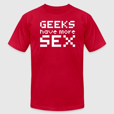 Computer humor- GEEKS HAVE MORE SEX - Men's Fine Jersey T-Shirt