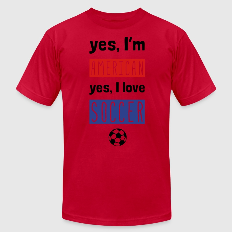 Yes I'm American Yes I Love Soccer - Men's Fine Jersey T-Shirt