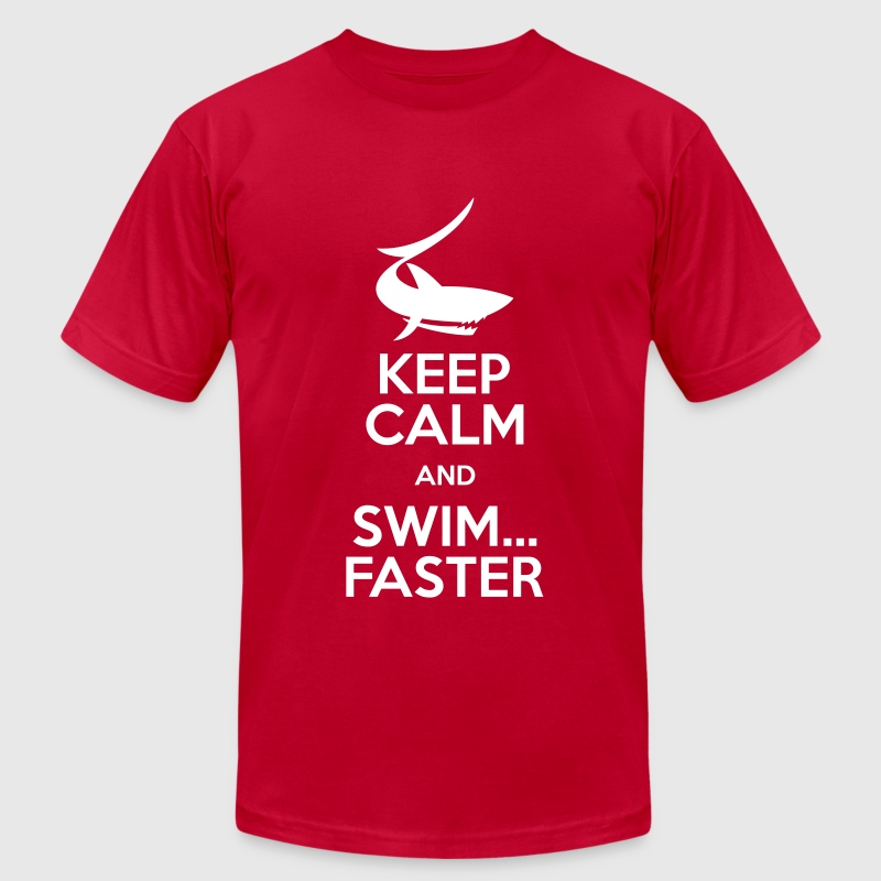 keep calm and swim faster - Men's Fine Jersey T-Shirt