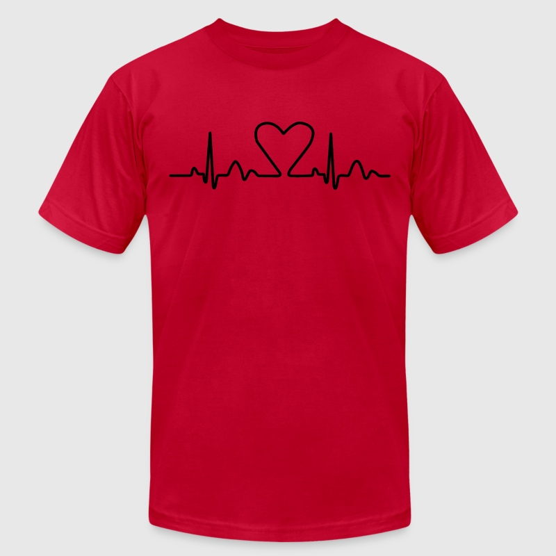 Lines of Heart electrocardiogram heart pulse heart, loving couples, Valentine's Day - Men's Fine Jersey T-Shirt