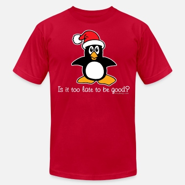 Christmas Penguin Is It Too Late To Be Good? - Men's Fine Jersey T-Shirt