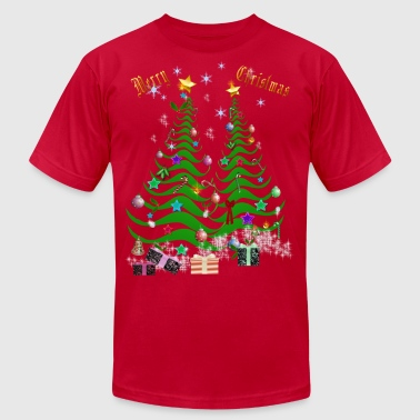 Artsy Christmas Tree and Decorations - Men's Fine Jersey T-Shirt