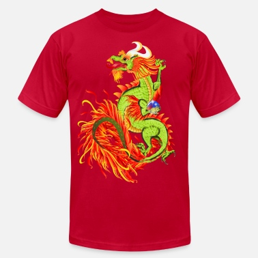 Chinese Dragon Flaming Dragon-Chinese Year Of The Dragon - Men's  Jersey T-Shirt