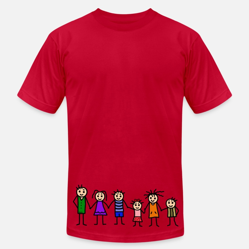Family T-Shirts - large family - patchwork family - colorful - Men's Jersey T-Shirt red