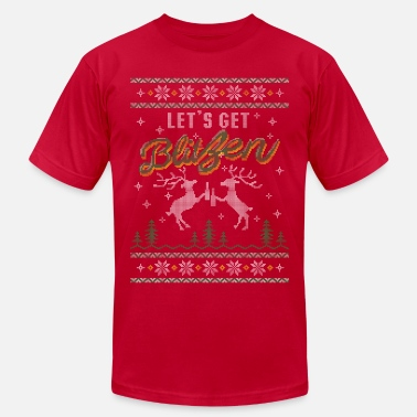 Ugly UGLY HOLIDAY SWEATER LET'S GET BLITZEN - Men's Fine Jersey T-Shirt