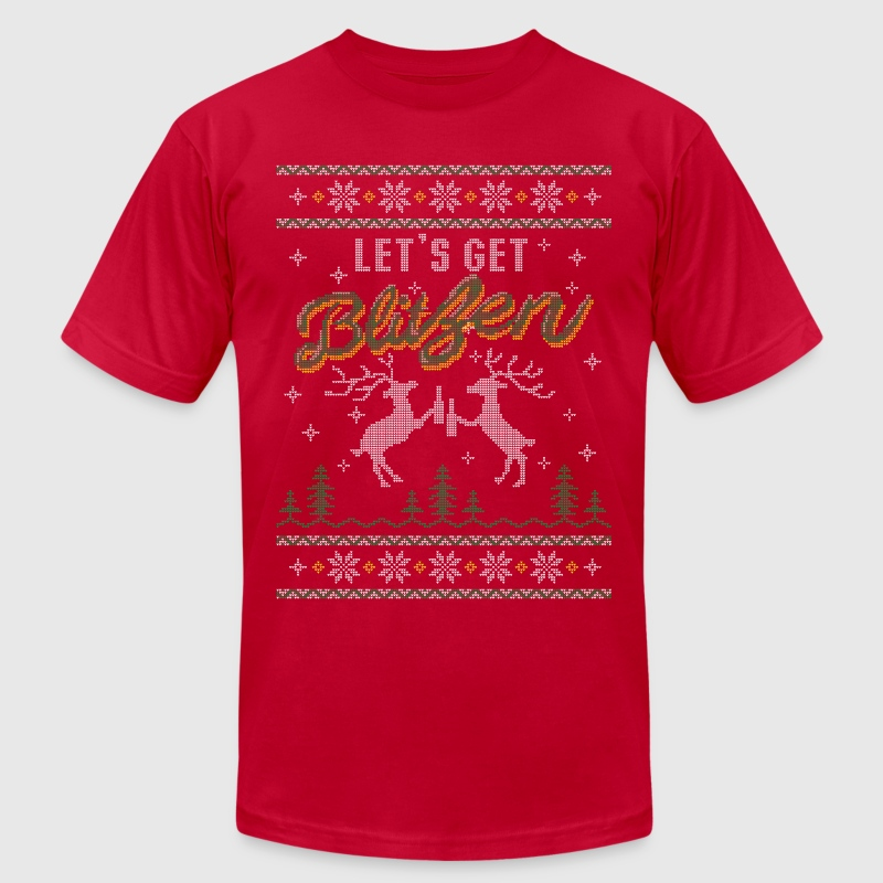 UGLY HOLIDAY SWEATER LET'S GET BLITZEN - Men's Fine Jersey T-Shirt
