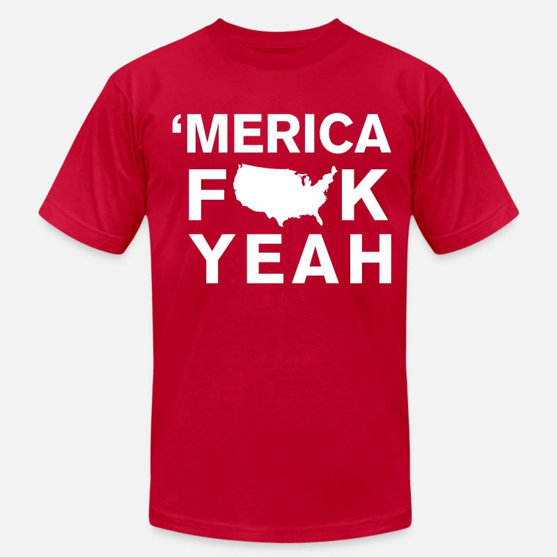 Fuck T-Shirts - Merica Fk Yeah - Men's Jersey T-Shirt red