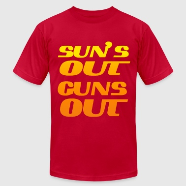 Suns Out Guns Out Cool Gym and Workout - Men's Fine Jersey T-Shirt