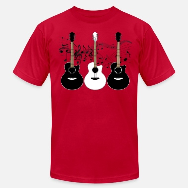 Musical Instrument Black and White Acoustic Guitars - Men's Fine Jersey T-Shirt