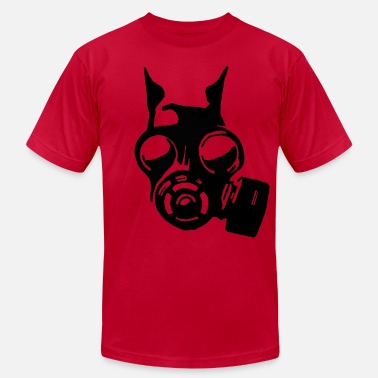 Gas Mask Dog Futuristic War Dog with a Gas Mask - Men's  Jersey T-Shirt