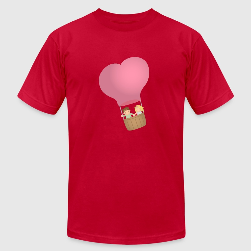 couple in love on hot air balloon - Men's Fine Jersey T-Shirt