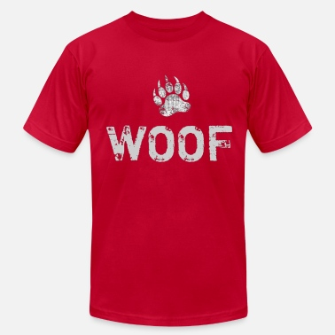 Woof Bear Paw Gay Bear Pride distressed Bear Paw WOOF - Men's Jersey T-Shirt