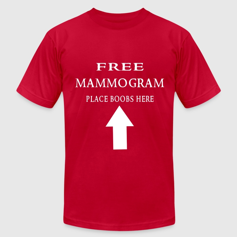 Free mammogram place boobs here white - Men's Fine Jersey T-Shirt
