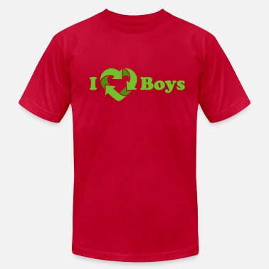 Gay Recycle I love Boys - Recycle Heart (dd print) - Men's  Jersey T-Shirt