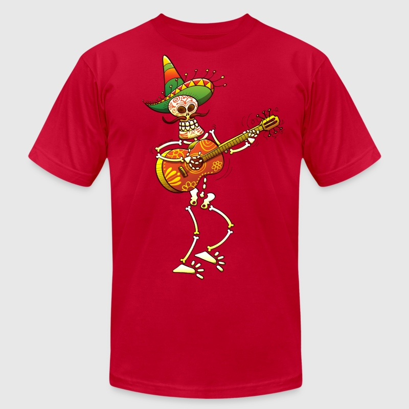 Mexican Skeleton Playing Guitar - Men's Fine Jersey T-Shirt