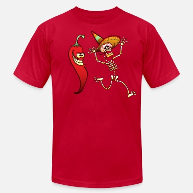 Chili Hot Chili Pepper Nightmare for a Mexican Skeleton - Men's Fine Jersey T-Shirt