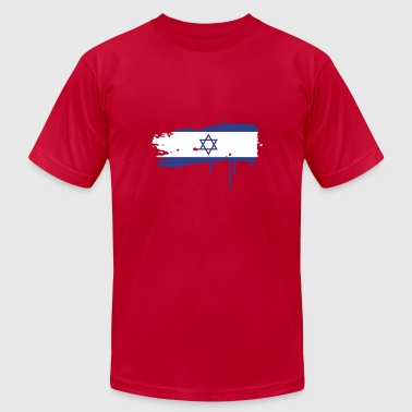 Two Stroke Israeli flag painted with a brush stroke - Men's Fine Jersey T-Shirt