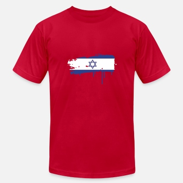 Two Stroke Israeli flag painted with a brush stroke - Men's  Jersey T-Shirt