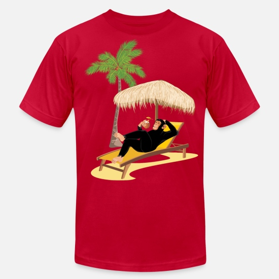 Beach T-Shirts - Monkey at the beach - Men's Jersey T-Shirt red