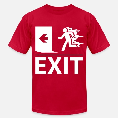 Fire Sign emergency fire exit sign - Men's  Jersey T-Shirt