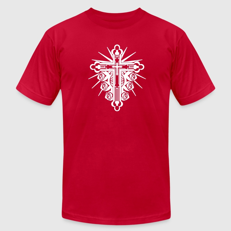 Ornate Cross with Roses 1 Color - Men's Fine Jersey T-Shirt